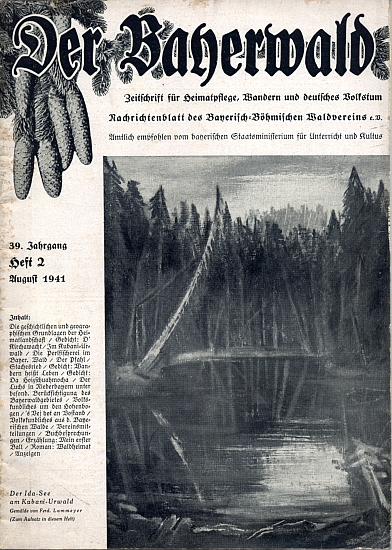 Obálka (1941) časopisu Der Bayerwald s reprodukcí jeho malby nazvané Idino jezírko při Boubínském pralese