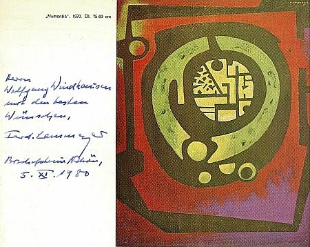 Zde se podepsal na obálce výstavního prospektu pod věnování básníku a grafikovi Wolfgangu Windhausenovi (*1949)