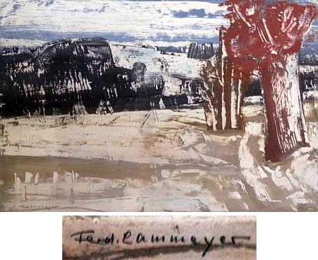"""Jeho obraz """"Rhönská krajina v zimě"""" a detrail malířovy signatury"""