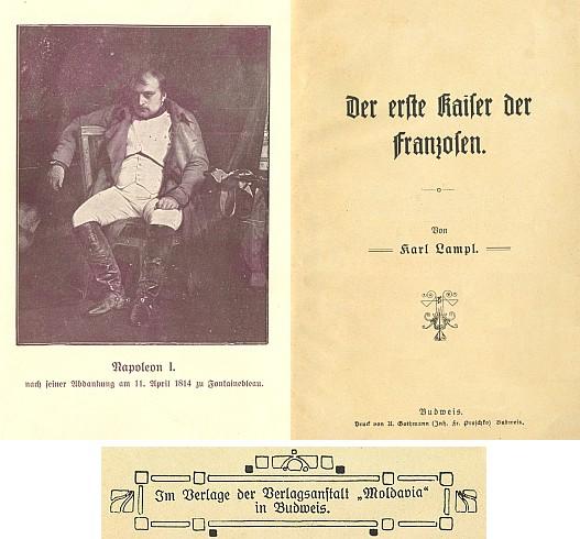 """Titulní list a frontispis jeho knihy s vinětou nakladatelství """"Moldavia"""""""