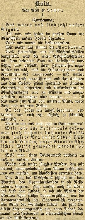 """Úvod jeho prózy """"Kain"""", otiskované na pokračování v českobudějovickém německém listě jako přímá aktualizace biblického příběhu bratrovraždy na pozadí událostí první světové války"""