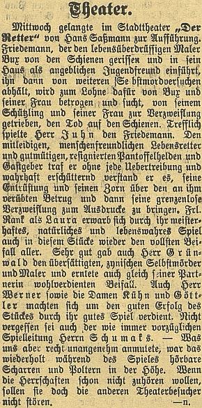 """Dva texty z českobudějovického německého listu o uvedení jeho hry """"Der Retter"""" (tj. """"Zachránce"""") zdejším městským divadlem v prosinci válečného roku 1915"""