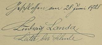 Jeho podpis v cetvinské školní kronice na konci školního roku 1927/1928