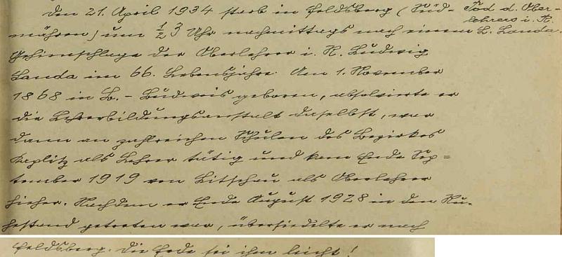 Nekrolog do školní kroniky napsal jeho nástupce Johann Plodek