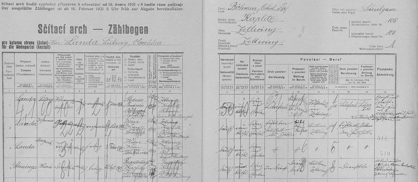 Arch sčítání lidu z roku 1921 pro adresu Cetviny, Školní ulice čp. 105, kde bydlel se svou ženou Johannou, dcerou Margarete a služkou Marií Steiningerovou z Rapotic (Rappetschlag)