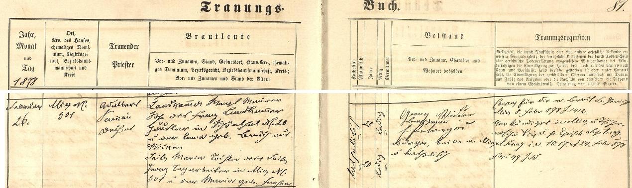 Záznam o svatbě rodičů ve stříbrské oddací matrice - dlužno poznamenat, že jim na adrese zde uvedené zemřelo brzy po narození hned několik dětí