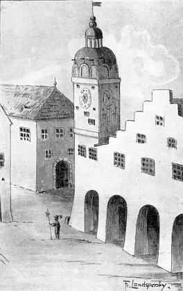 """Takto zachytil jako """"městký stavební revident"""" svou signovanou kresbou pravděpodobný vzhled českobudějovické radnice v 16. století (boční věž budovy měla být postavena vroce 1555)"""