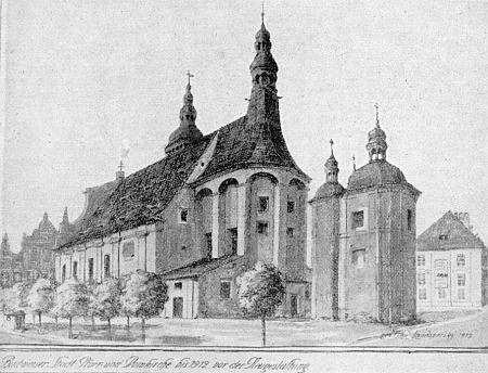 Do roku 1912, kdy byla přestavěna, vyhlížela zadní část českobudějovické katedrály s věží nad kněžištěm naproti kapli Smrtelných úzkostí Páně podle jeho kresby takto