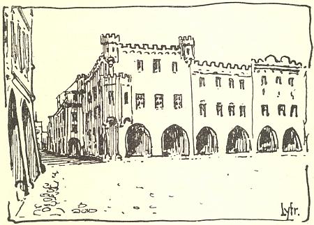 Roh náměstí a Krajinské ulice na kresbě s jeho autorskou šifrou, jak vyhlížel někdy počátkem 17. století - na rohovém domě sněkdejším cimbuřím je dnes umístěna pamětní deska spřipomínkou smrti Ondřeje Puklice zeVztuh