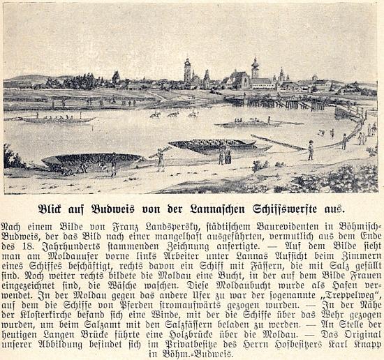 Původní podoba otištěné kresby Lannovy loděnice a města v pozadí z budějovického Heimatbuchu