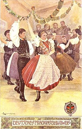 Tato krojová taneční scéna z budějovického jazykového ostrova je signována jeho jménem avročením 1909