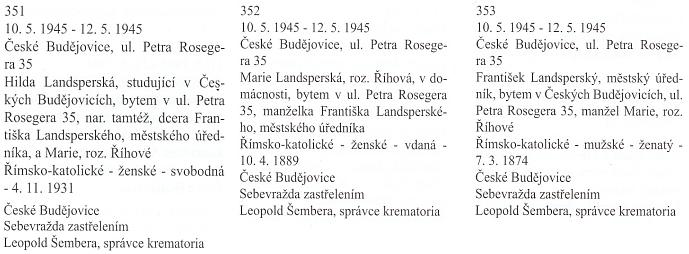 Záznam českobudějovické Knihy zemřelých a pohřbených o jeho sebevraždě v květnových dnech roku 1945, kterou spáchal spolu s dcerou Hildou a manželkou Marií, roz. Říhovou (ulice Petera Roseggera je psána chybně)