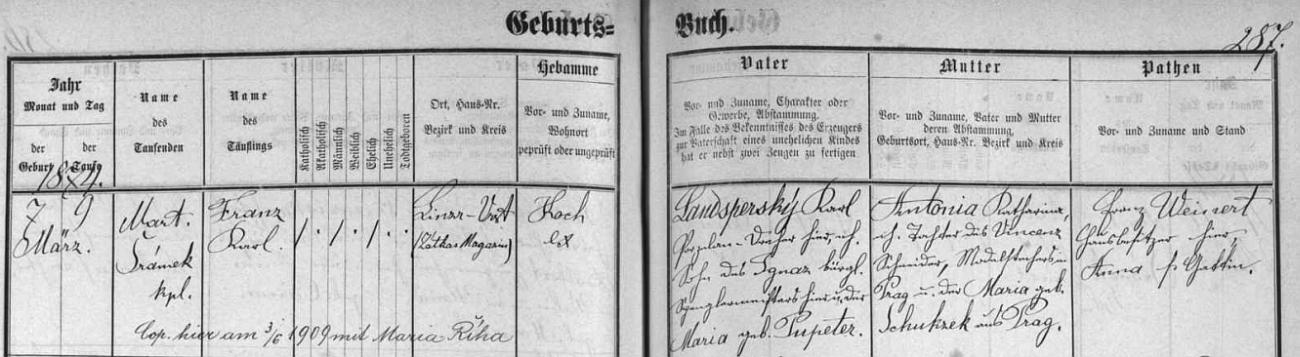 Záznam českobudějovické křestní matriky o jeho narození 7. března roku 1874 v Zátkově skladu na Lineckém předměstí keramikovi Karlu Landsperskému (jeho otec Ignaz Landsperský byl zdejším mistrem klempířským, matka Maria byla roz. Pupeterová) a jeho ženě Antonii Katharině, dceři Vinzenze Schneidera, pražského vzorkaře textilního tisku,  a jeho manželky Marie, roz. Schukzekové, rovněž z Prahy - pozdější přípis zpravuje nás o českobudějovické svatbě Franze Landsperského s Marií Říhovou dne 9. června 1909