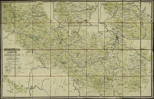 Mapa Šumavy, kterou nakreslil ve druhém desetiletí 20. století (klikněte na náhled pro digitalizovanou mapu)