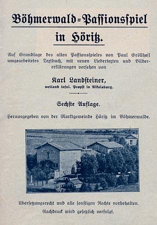 """Titulní list (1933) šestého vydání Landsteinerova zpracování hořických pašijí nákladem """"farní obce Hořice na Šumavě"""""""
