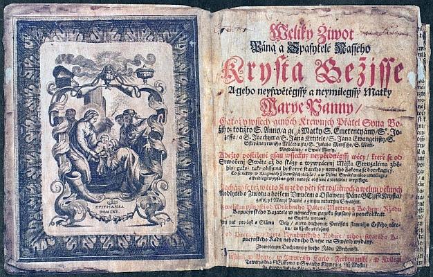 Titulní list a frontispis českého vydání Kochemovy knihy Veliký život Pána a Spasitele našeho Krista Ježíše (1698)