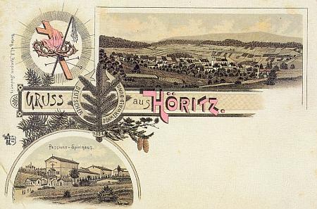 Dvě kolorované pohlednice z Hořic, tu spodní vydalo nakladatelství L. E. Hansen v Českých Budějovicích