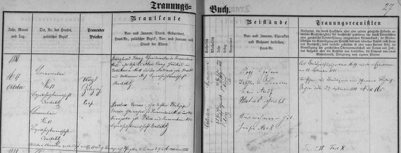 Záznam v matrice farní obce Horní Vltavice o tamní svatbě jeho rodičů v říjnu roku 1881 dosvědčuje, že otec byl synem chalupníka Aloise Langa a Antonie, roz. Grablové, obou z Dobré na Šumavě, matka Pauline byla pak dcerou skláře Philippa Goernera a Franzisky, roz. Diemové, obou z Lenory - oddávající kněz se jmenoval Wenzl Železný
