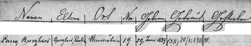 """""""Jeho"""" řádka v indexu matriky farní obce Horní Vltavice prozrazuje jak křestní jména rodičů, tak číslo popisné rodného domu a datum jeho narození 29. června 1899 i svatby 20. prosince roku 1926"""