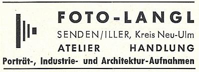 Inzerát jeho fotoateliéru z poválečných dob