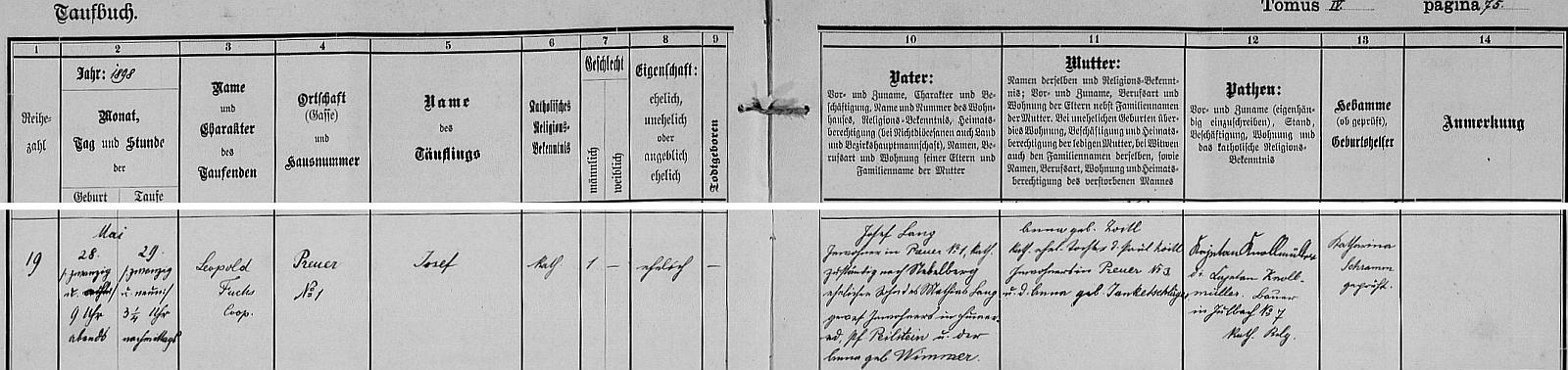 Záznam o jeho narození v křestní matrice hornorakouské farní obce Julbach