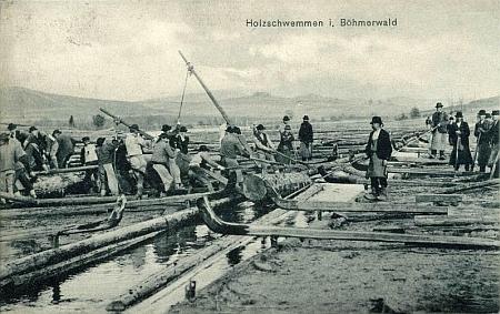 Plavení dřeva na Schwarzenberském kanále na pohlednicích Josefa Seidela z počátku 20. století