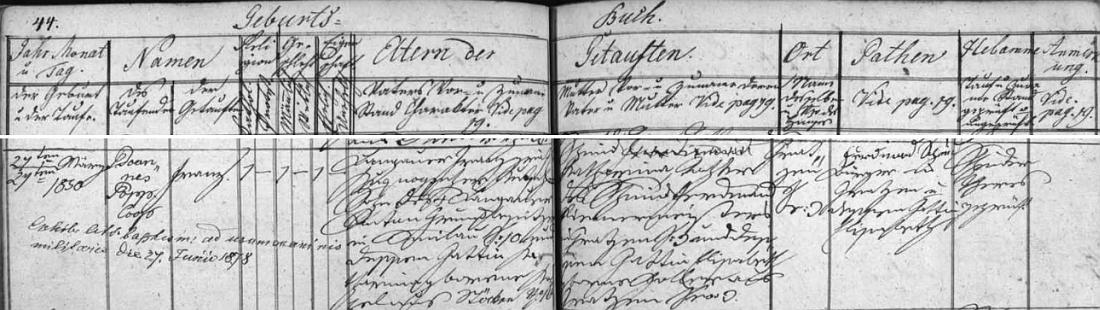 Záznam o jeho narození a křtu v novohradské matrice