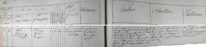 Záznam o jeho narození v kašperskohorské křestní matrice