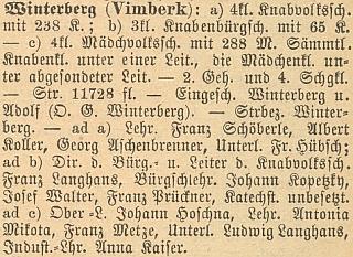 Soupis českých školních okresů zaznamenává mezi německými učiteli ve Vimperku i jeho otce