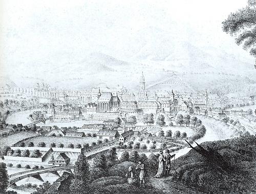 Město Český Krumlov na kresbě Josefa Langweila, kterou jako litografii vytiskl v roce 1819 jeho bratr Anton