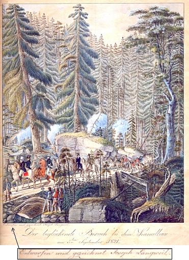 """Jím signovaná kolorovaná kresba """"obšťastňující"""" knížecí návštěvy na schwarzenberském kanále v září roku 1821"""