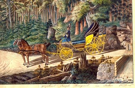 Langweilovo jméno vidíme i na signatuře kolorované kresby, zachycující další návštěvu knížete Josefa v roce 1823 (výřez - viz i Ernest Mayer)