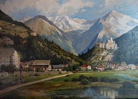 Dva obrazy Josefa Langla: Pohled na hrad Taufers a Hřbitov St.Gallen a hrad Gallenstein