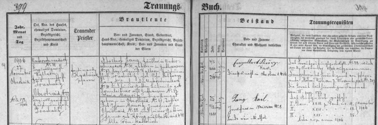 Záznam v oddací matrice farní obce Zbytiny o tamní svatbě jeho rodičů Adalberta Langa, narozeného v Dobré na Šumavě čp. 37 Franzi Langovi a jeho ženě Ludmile, roz. Sonnleitnerové z Dobré na Šumavě čp. 37, s Marií, dcerou Johanna Mauritze ze Zbytin čp. 22 a Johanny, roz. Königové ze Zbytin čp. 41