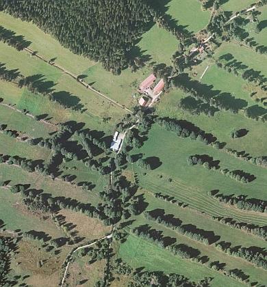 Dolní Sněžná na leteckých snímcích z roku 1952 a 2008