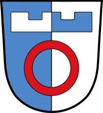 Znak bavorské obce Nordendorf, kde zemřel a kde je pochován