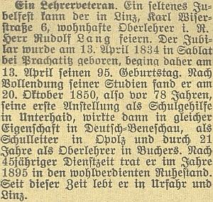 Zpráva o jeho pětadevadesátinách v českobudějovickém německémlistu