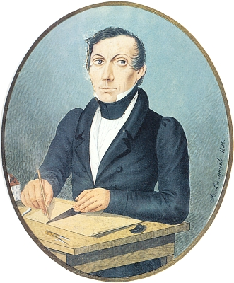 Jeho autoportrét, signovaný a datovaný rokem 1830, jak je uchován ve sbírkách Jihočeského muzea