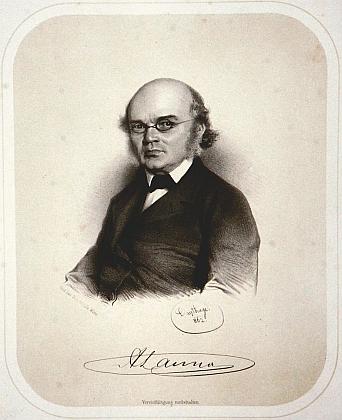 Svou podobiznu, vytvořenou litografem Adolfem Dauthagem (1825-1993), doprovodil vlastnoručním podpisem
