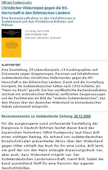 Nabídka a ukázka z recenze (2009) knihy, kterou Otfried Pustejovsky věnoval tématu křesťanského odporu vůči nacistickému panství v českých zemích