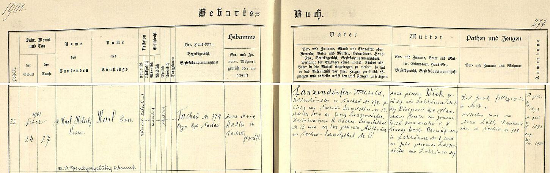 Záznam tachovské křestní matriky o jeho narození
