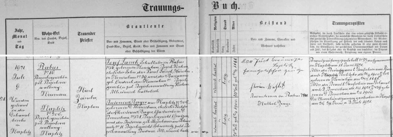 Záznam kaplické oddací matriky o jeho zdejší svatbě s Antonií, roz.Mayerovou
