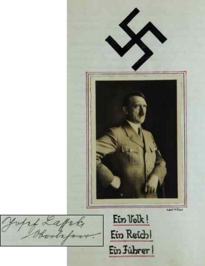 """Svým podpisem se loučí s raveňskou školou jako Zellenleiter (vedoucí buňky) NSDAP, doslova na prahu """"nových časů"""", v říjnu 1938"""