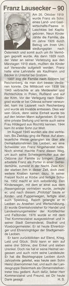 I Franz Lausecker, čestný občan rakouského města Leoben, pochází podle této zdravice k jeho devadesátinám na stránkách krajanského listu porodičích z Blažkova uOmlenice