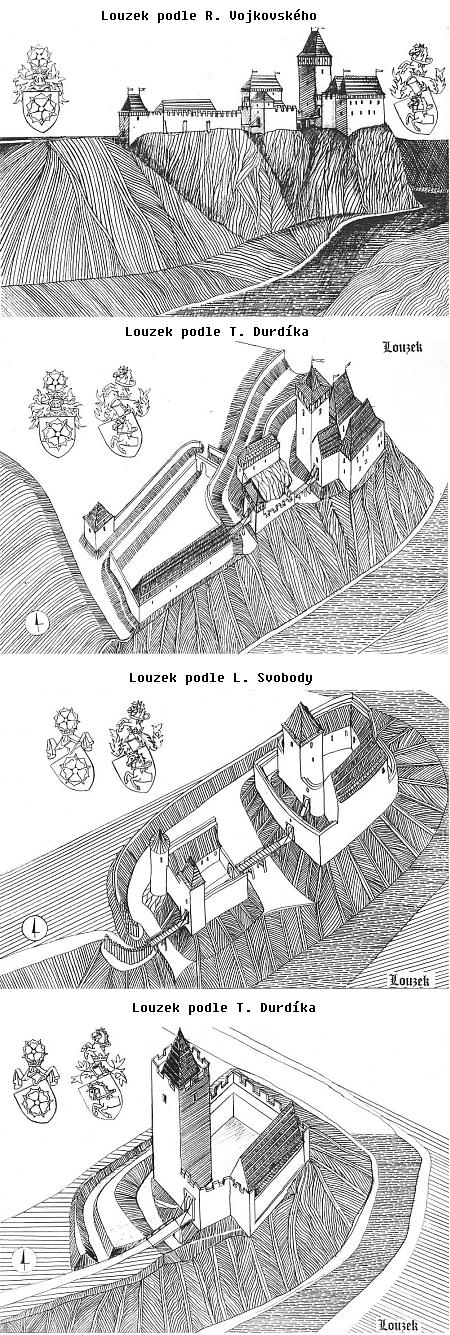 Kresby Jana Heřmana podle rekonstrukcí hradu Louzek