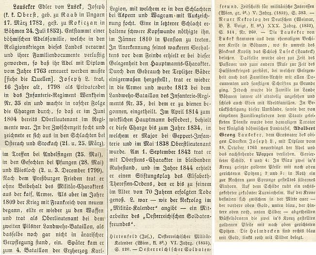 """Jeden z Lauseckerů von Lusek se roku 1865 dostal i se svým dědem Adalbertem a popisem rodového erbu do Wurzbachova lexikonu """"pamětihodných osob císařství rakouského"""""""