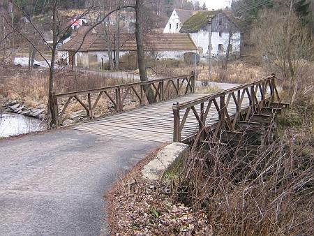 Mostek přes Malši v Ješkově (Jeschkesdorf)