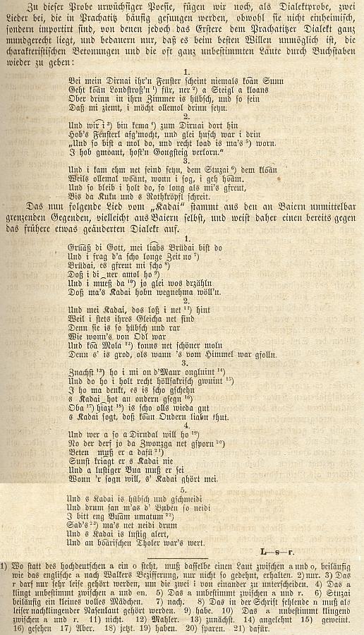 Textové ukázky dvou nářečních písní, jak je slyšel v Prachaticích, v jeho zápisu a s jeho poznámkami, jakož i s autorskou šifrou na konci
