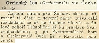 Co praví o Greinském lese Ottův slovník naučný
