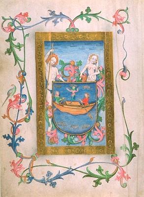 """Znak města Grein v """"Marktbuch der Stadt Grein"""" na miniatuře Ulricha Schreiera zroku1490"""